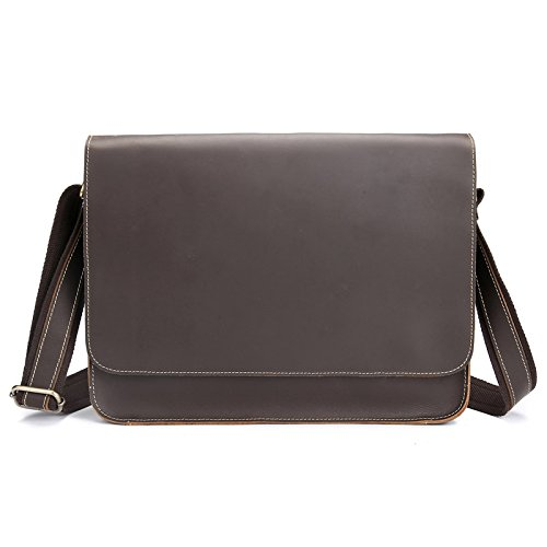 Herren Leder Aktentasche, Herren Leder Aktentasche, Schultertasche, Tasche 35,5 cm * 26 cm, Tiefe Kaffee Tiefe Kaffee