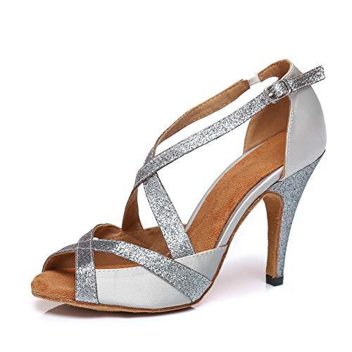 HIPPOSEUS Zapatos de Baile Latino para el salón de Baile con Purpurina y Salsa para Mujer Zapatos de Baile,CY-L386,Plata Color,EU 38