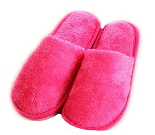 Auspicious beginning Chaussures dintérieur couleur unie pour adultes Chaussures dintérieur couleur unie pour couples rose (femmes)