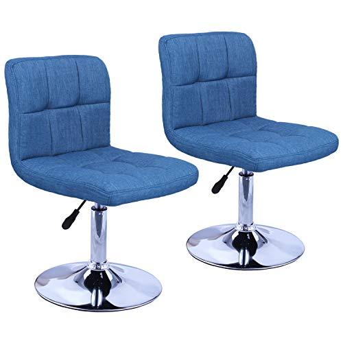 Duhome Elegant Lifestyle 2er Set Moderner Esszimmerstuhl Stoff Leinen Küchenstuhl höhenverstellbar drehbar Stuhl Farbauswahl - Typ 451N (Blau - Leinen) - Kunststoff-stuhl Moderner