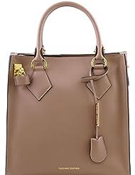 Tuscany Leather Fortuna - Sac à main vertical en cuir Ruga