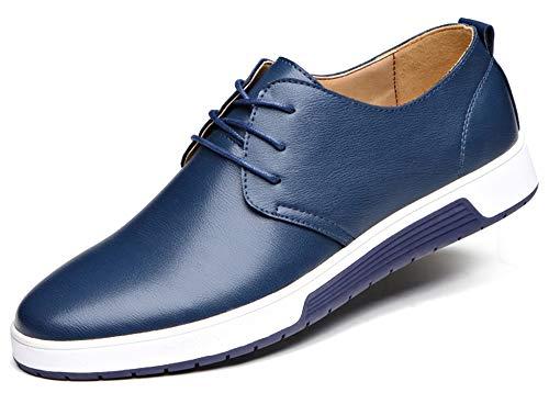 CAGAYA Herren Freizeit Schuhe aus Leder Business Anzugschuhe Atmungsaktiv Lederschuhe Oxford Halbschuhe Party Hochzeit übergrößen 38-46 (44, Blau)