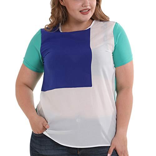 Andouy T-Shirt Top Frauen Kurzarm Raglan Farbblock Plus Size Gr.36-52 Oansatz Solide Damen Slouch...