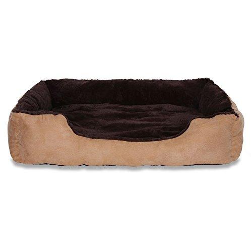 dibea DB00513, Letto per Cani, Divano morbido, Velluto, cuscino reversibile (XL) 90 x 70 cm, marrone/beige
