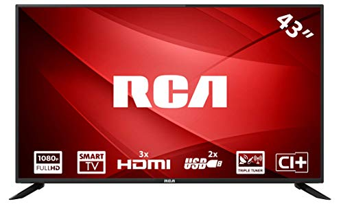 RCA RS43F1: 109 cm (43 Zoll) LED-Smart-TV-Fernseher (Full HD, Triple Tuner, HDMI, CI+, Mediaplayer per USB 2.0) [Energieklasse A] Hd Tuner Hdmi