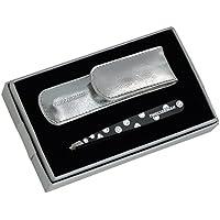 Tweezerman-Pinzette per sopracciglia a punta inclinata, in cristallo, con motivo