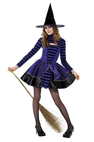 Smiffys Costume fée des ténèbres ado à rayures, Violet & Noir, avec robe & boléro