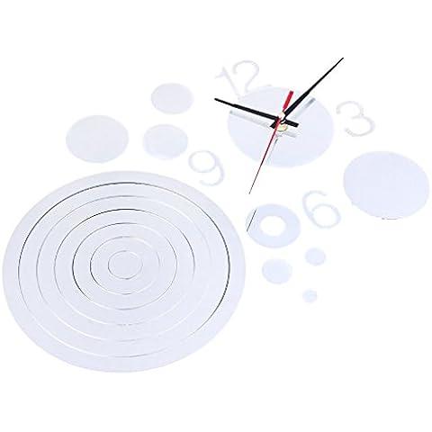 Casa Moderna Decorazione Salotto Cerchio Cristallo Specchio Orologio Adesivo Fai Da Te - Il Tono D'argento