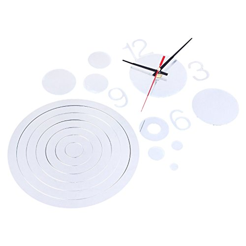 Home Modern Decoration Living Room Circle Crystal Mirror Decal Wall Clock DIY - black
