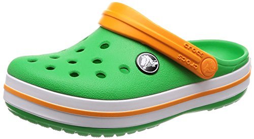 crocs Crocband Clog Kids, Unisex-Kinder Clogs, Grün (Grass Green/White/Blazing Orange), 34/35 EU