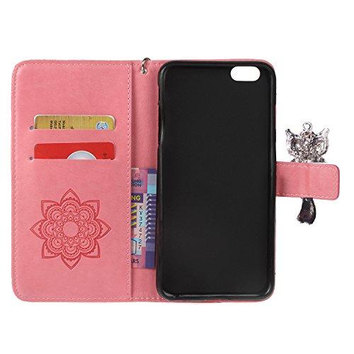 PU iPhone 6 Coque Bookstyle Hibou Étui Fleur Housse en Cuir Case à rabat pour Apple iPhone 6 (4.7 pouces) Coque de protection Portefeuille PU Case Cover (+Bouchons de poussière) (11) 5