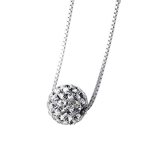 uen Silber überzogene Halskette Shambhala Ball Anhänger Zirkon Halskette Clavicular Kette Zubehör Schmuck für Freundin Dame Geburtstagsgeschenk ()