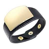 Bracelet Leather Fashion Men And Women Metal Decorative Punk Pop Watch Shape Trend Personality Gift Creative Unique Black