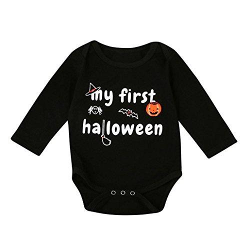 Säuglings-Halloween-Kostüm,Simonabo Kleinkind-Baby-Jungen-Mädchen-Halloween-Kürbis-lange Hülsen-Spielanzug-Overall-Kleidung (12M)