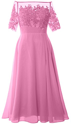 MACloth Women Off Shoulder Mother of Bride Dress Tea Length Formal Evening Gown Rosa