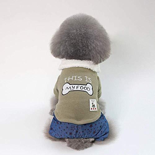 JFFFFWI Haustier Kleidung Hund Pullover Haustier Kleidung Heimtierbedarf Knochen vierbeinigen Baumwollmantel (Farbe: Grün, Größe: XL)