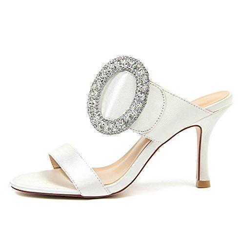 OEYW Fashion Party High Heels Flacher Mund Metall Strass Sandalen Bankett Hochzeit Weibliche High Heels,White,38 -