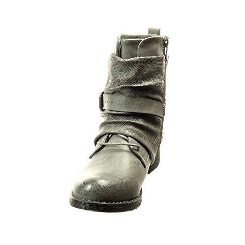 Lacci 5 Della 2 Grigio Stivali Scarpa Centimetri Angkorly Tacco Moda Fibbia Donna 76zAEnx