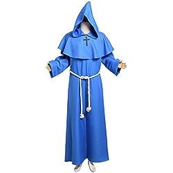 BLESSUME Disfraces de Monje Sacerdote Túnica Fraile Medieval Capucha Encapuchado Monje Renacimiento Túnica Disfraz (L, Azul)