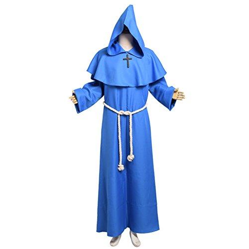 BLESSUME Priester Mönch Kostüm Robe Mönch Mittelalterliche Kapuze (Gotische Viktorianische Halloween-kostüme)