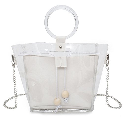 holitie Women Handtasche Schultertasche Shopper Taschen Umhängetasche, Vielseitige Schulter Kuriertasche Clear Transparent Drawstring Girls Composite Bag Kette - Sales Lady Kostüm