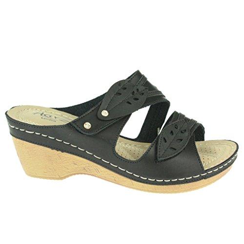 Frau Damen Doppelriemen Gepolsterte Komfort Sohle Breite Passform Beiläufig Slip On Keilabsatz Sandalen Schuhe Größe Schwarz