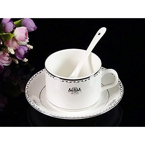 BeiBeiLove Bone China-Tazza da tè e piattino per tazzina da caffè con piattino e cucchiaio Set Platinum Phoenix