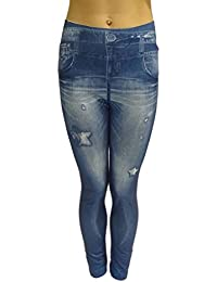 cbfa9fb077 Mujeres Dama Nuevo Stone Wash Denim Jeans look Star Ripped Leggings 8 10 ...