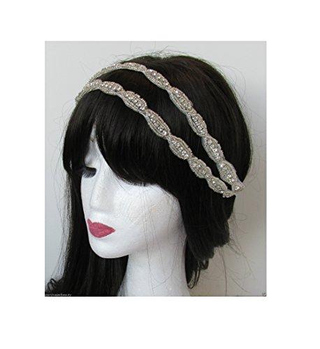 Argent perles strass bandeau de mariée vintage années 1920 Flapper Diamante Q85 Blanc * * * * * * * * exclusivement vendu par – Beauté * * * * * * * *