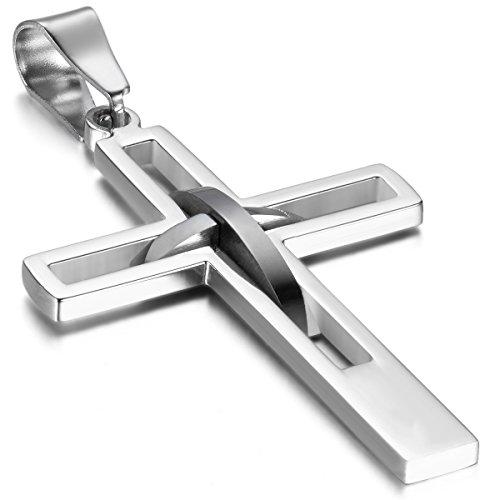 Oidea Vatertagsgeschenk Herren Halskette mit Anhänger, Hoch Poliert Edelstahl hohle Kruzifix Kreuz Anhänger mit 55cm Kette Halsband, Silber