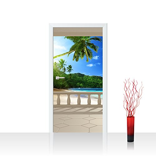 Türtapete selbstklebend 100x211 cm PREMIUM PLUS Tür Fototapete Türposter Türpanel Foto Tapete Bild - TERRACE VIEW CARIBBEAN BEACH - Ausblick Terrasse Seeblick 3D Strand Meer Sonne Palmen - no. 121