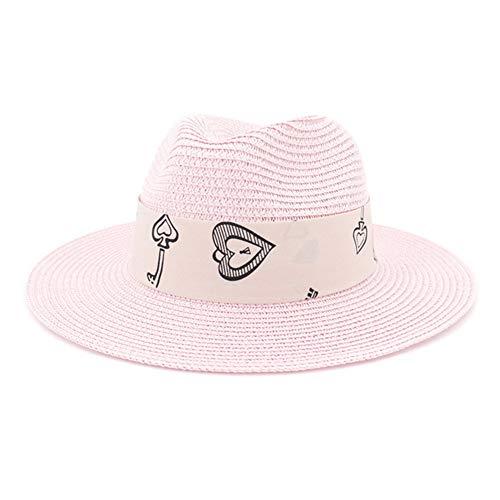 HGYIO Strand-Strohhut der Mädchen im Freien, beige Strandstrohhut, Sonnenschutzsonnenhut,pink (Stroh-cowboy-hut Bulk Für Kinder)