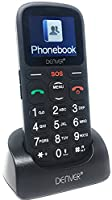 Denver Big Button GSP-120 Senior Mobile Phone with SOS Quick Call Button, SIM Free Unlocked, Torch & Radio