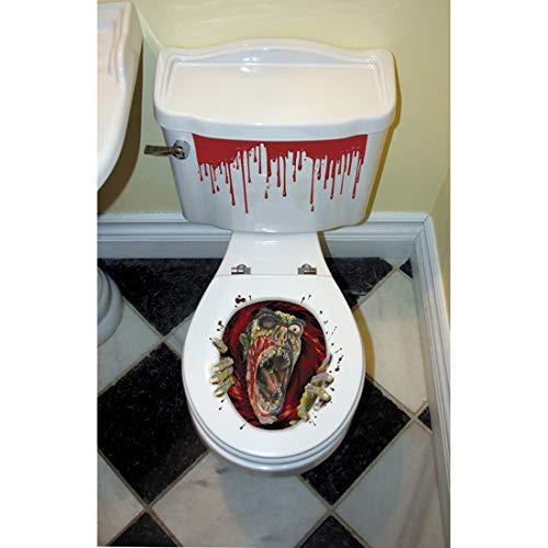Amakando Zombie Toilettendeckel-Aufkleber / 60,9 x 30,4 cm / Gruseliger WC-Sticker für Bad und Klo / Genau richtig zu Horror-Party & Zombie-Party
