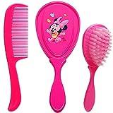 alles-meine.de GmbH 2 TLG. Set _ weiche Haarbürste + Haarkamm - Disney - Minnie Mouse - Babyhaarbürste + Kinderhaarbürste - für Mädchen / Kinder Baby - antiziep rosa pink Accesso..