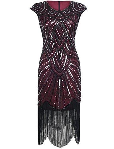 20er Gastby Diamant Pailletten versch?nert mit Fransen Flapper Kleid S Luxus Burgund (1920 S Kleider)