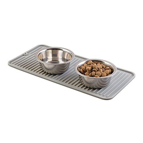 mDesign Silikonmatte Futternapf - Napfunterlage Silikon für Vierbeiner - praktische Bodenschutzmatten: 40,6 cm x 20,3 cm/ grau