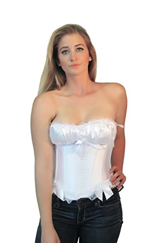 Bridal White Ruffled Lace Trim Satin Party Bustier Overbust Corset Top Medium