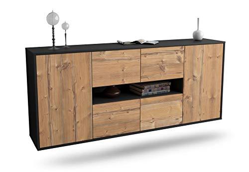 Dekati Sideboard Stamford hängend (180x77x35cm) Korpus anthrazit matt | Front Holz-Design Pinie | Push-to-Open