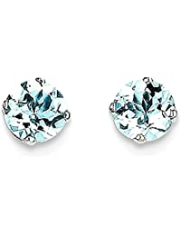 ICE CARATS 14k White Gold 5mm Blue Aquamarine Stud Ball Button Earrings Birthstone March Prong Fine Jewelry Gift Set For Women Heart