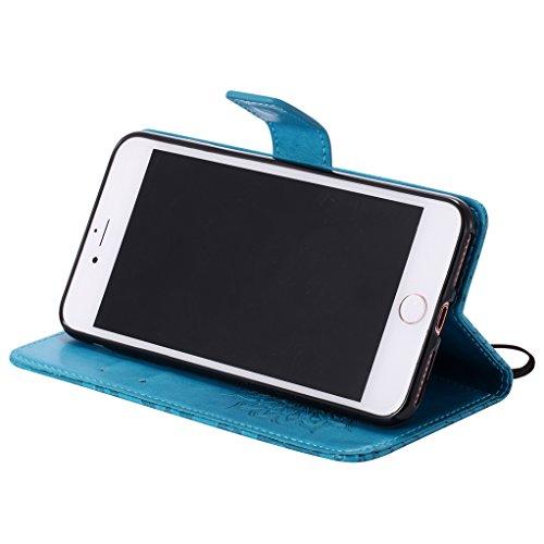 Trumpshop Smartphone Case Coque Housse Etui de Protection pour Apple iPhone 7 Plus (5.5 Pouce) [Rose] 3D Mandala Mode Portefeuille PU Cuir Fonction Support Anti-Chocs Bleu