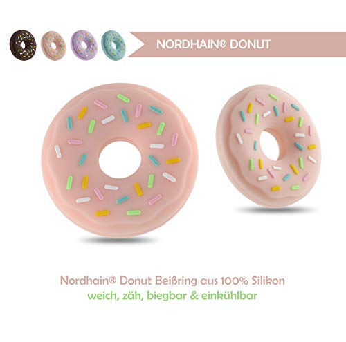 Nordhain Donut Beißring Erdbeere für Babys aus hochwertigem Silikon - unterstützender Spielkamerad & Freund deines Babys in zahnender Zeit