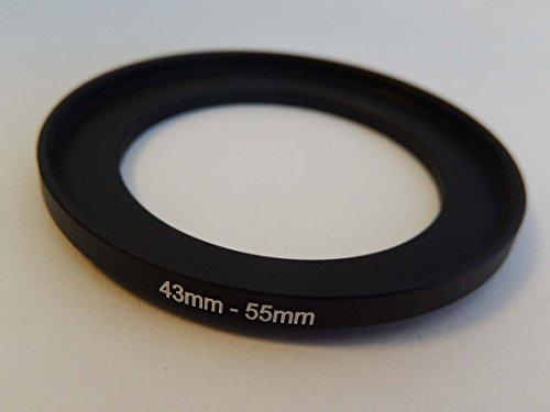 vhbw Step UP Filter-Adapter 43mm-55mm schwarz für Kamera Agfa, Agfaphoto, Canon, Casio, Fujifilm, Kodak, Minolta, Nikon, Olympus Casio Canon Eos