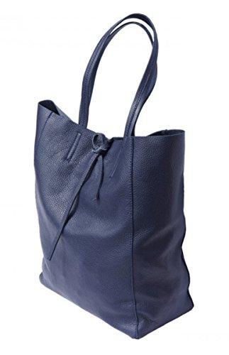 SUPERFLYBAGS Borsa Donna Shopper a Spalla In Vera Pelle modello Elba Made In Italy Blu scuro
