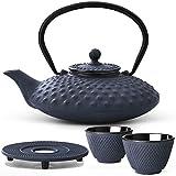 Bredemeijer Teekanne asiatisch Gusseisen Set blau 0,8 Liter mit Tee-Filter-Sieb mit Stövchen und Teebecher (2 Tassen) blau - Serie Xilin
