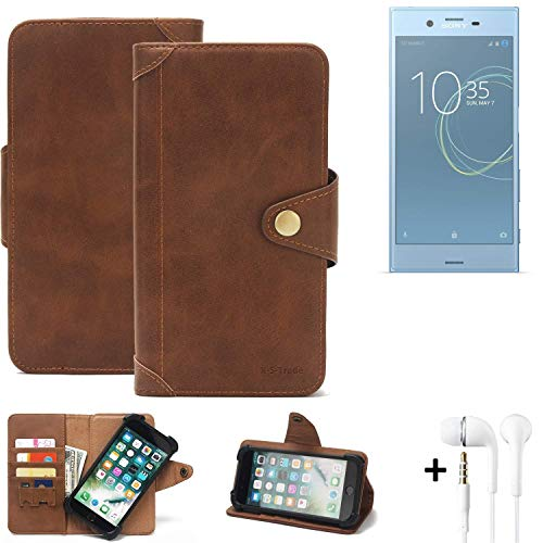 K-S-Trade Handy Hülle für Sony Xperia XZs Dual SIM Schutzhülle Walletcase Bookstyle Tasche Handyhülle Schutz Case Handytasche Wallet Flipcase Cover PU Braun inkl. in Ear Headphones (1x)