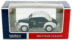 Norev-Miniatura de Coche Renault 4CV pie Policía (Escala 1/64, 319251-4CV-Pol, Negro/Blanco
