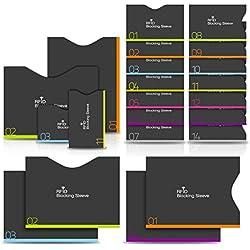 PAMIYO Protecteur de Carte Porte-Monnaie Anti RFID (RFID Pochette Protection Porte Carte 14+4), Anti FRAUDE Etui Carte Bancaire Anti Piratage,Étui protége des cartes de crédit Carte Bleue sans Contact