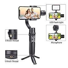 Smartphone Gimbal Stabilizer, iSteady Mobile Plus 3-Achsen Handheld Gimbal für iPhone-Serie, Samsung, Huawei (iKompatibel mit einigen Android-Mainstream-Modellen) (Black)