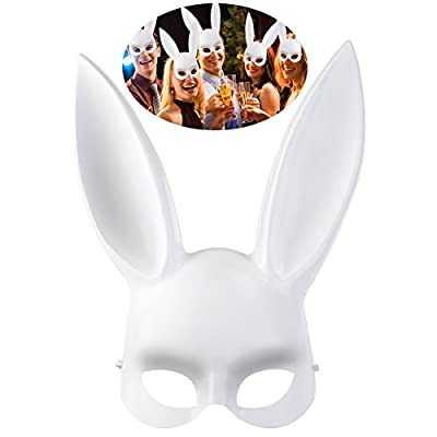 OULII Pâques Party Supplies mascarade Bunny Masque Halloween Costume accessoire pour hommes et femmes (blanc)